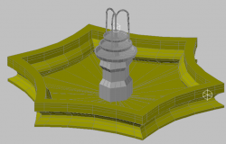 3d design of garden fountain details dwg file