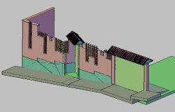 3d design of garden wall fence dwg file