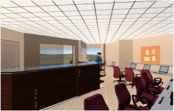 3d design of indoor interior desks of corporate office dwg file