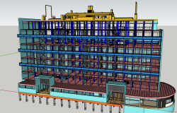 3d design of industrial plant multi-flooring building dwg file