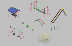 3d design of infantile game equipment blocks details of garden dwg file