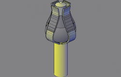 3d design of light pole with hook to graps dwg file