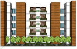 3d design of multi-family residential flats dwg file