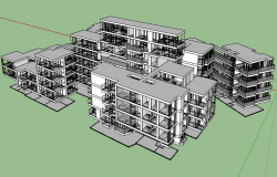 3d design of multi-family residential flats project dwg file