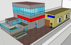 3d design of multi-flooring bank dwg file