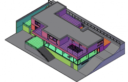 3d design of multi-flooring bungalow dwg file