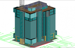 3d design of multi-flooring office building dwg file