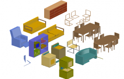 3d design of multiple furniture blocks design dwg file