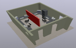3d design of office module layout plan dwg file