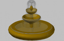3d design of ornamental fountain of garden dwg file