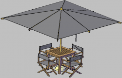 3d design of outdoor dining table of garden details dwg file