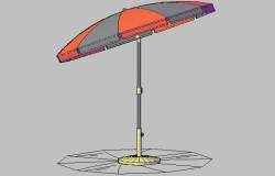 3d design of parasol with umbrella dwg file