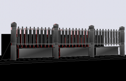 3d design of perimeter fence of garden dwg file