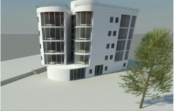 3d design of residential housing building side view dwg file