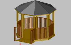 3d design of round about wooden kiosk details of garden dwg file