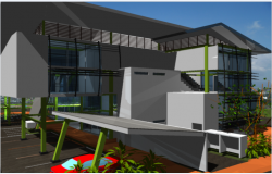 3d design of side view of shopping center dwg file