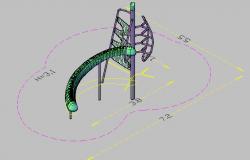 3d design of slide of garden dwg file