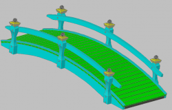 3d design of wooden Japanese bridge of garden dwg file
