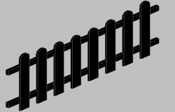3d design of wooden fence of garden dwg file