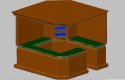 3d design of wooden indoor cabin dwg file