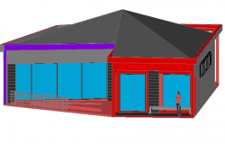 3d design view of administration building dwg file