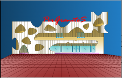 3d design view of front elevation view of showroom dwg file