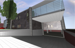 3d design view of main entrance of bank office building dwg file