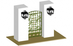 3d door design view with column and light view