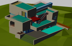 3d drawing of 2 story bungalow dwg file