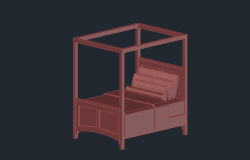 3d drawing of bed in autocad