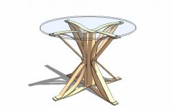 3d drawing of glass table .