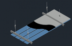 3d drawing of metal ceiling with its assembly dwg file