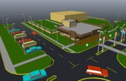 3d drawing of shopping center design in autocad