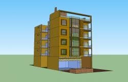3d drawing of the residential building in SketchUp file