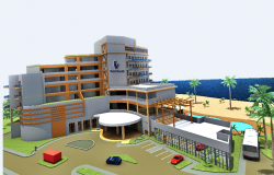 3d exterior design view of ocean view boutique hotel dwg file