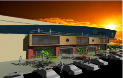 3d front design of shopping mall dwg file