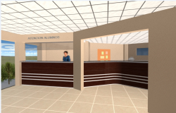 3d front desk with interior design of corporate office dwg file