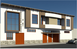 3d front elevation view details of municipality office dwg file