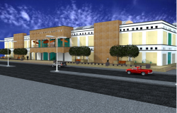 3d front view design of shopping center project dwg file