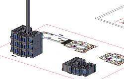 3d high rise housing and commercial building auto-cad details dwg file