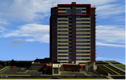3d main design view of multi-flooring office tower dwg file