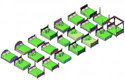 3d model of bed design in dwg file