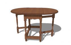 3d model of gate leg table detail furniture units sketch-up file