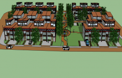 3d multi-family residential housing complex dwg file