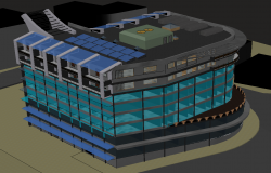 3d office building elevation view dwg file