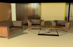 3d sofa set with wall elevations