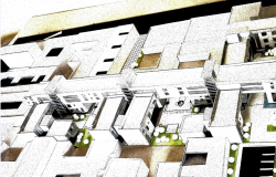 3d top view design of residential complex building dwg file