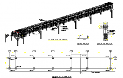 3d view for pipe bridge with construction details dwg file