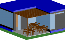 3d view of book shop interior view dwg file