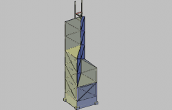 3d view of building tower dwg file